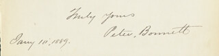 Autographs: PETER BONNETT - AUTOGRAPH SENTIMENT SIGNED 01/10/1889