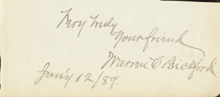 WARREN C. BICKFORD - AUTOGRAPH SENTIMENT SIGNED 01/12/1889