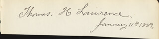 THOMAS H. LAWRENCE - AUTOGRAPH 01/11/1889