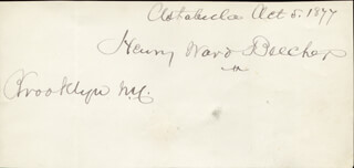Autographs: HENRY WARD BEECHER - SIGNATURE(S) 10/05/1877