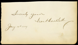 Autographs: GEORGE A. BARTLETT - SIGNATURE(S) 01/10/1889