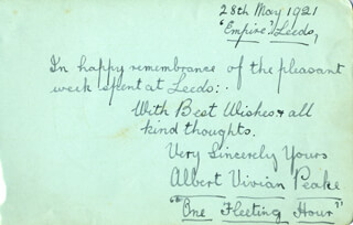 ALBERT VIVIAN PEAKE - AUTOGRAPH SENTIMENT SIGNED 05/28/1921