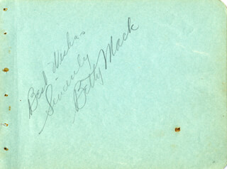 BETTY MACK - AUTOGRAPH SENTIMENT SIGNED