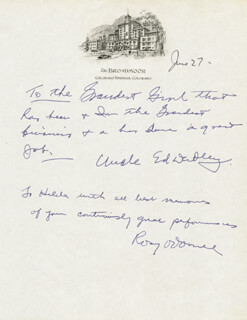 ED (EDWARD BISHOP) DUDLEY - AUTOGRAPH NOTE SIGNED 6/27 CO-SIGNED BY: ROSY O'DONNELL