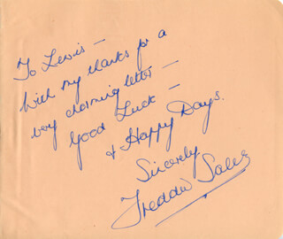 FREDDIE SALES - AUTOGRAPH NOTE SIGNED