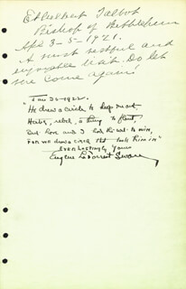 EUGENE LA FORREST SWAN - AUTOGRAPH POEM SIGNED 01/26/1922 CO-SIGNED BY: BISHOP ETHELBERT TALBOT