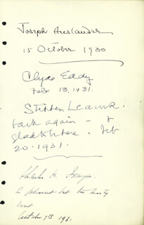 Autographs: JOSEPH AUSLANDER - SIGNATURE(S) 10/15/1930 CO-SIGNED BY: STEPHEN LEACOCK, CLYDE EDDY, CHARLES H. FRAZIER