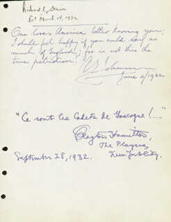 CLAYTON HAMILTON - AUTOGRAPH QUOTATION SIGNED 09/28/1932