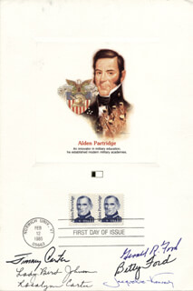 Autographs: PRESIDENT JAMES E. JIMMY CARTER - FIRST DAY COVER SIGNED CO-SIGNED BY: FIRST LADY BETTY FORD, FIRST LADY LADY BIRD JOHNSON, FIRST LADY JACQUELINE B. KENNEDY, FIRST LADY ROSALYNN CARTER, ROBERT J. BOB DOLE, PRESIDENT GERALD R. FORD