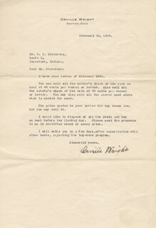 ORVILLE WRIGHT - TYPED LETTER SIGNED 02/16/1934
