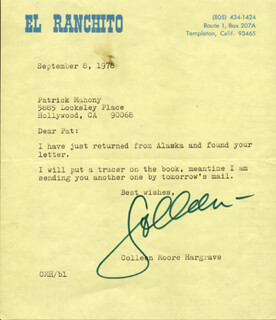 COLLEEN MOORE - TYPED LETTER SIGNED 09/08/1978