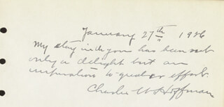 Autographs: CHARLES W. HOFFMAN - AUTOGRAPH NOTE SIGNED 01/27/1926