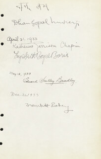 DHAN GOPAL MUKERJI - AUTOGRAPH 1933 CO-SIGNED BY: EDWARD SCULLEY BRADLEY, LYSBETH BOYD BORIE, KATHERINE GARRISON CHAPIN, FRANK H. LAHEY