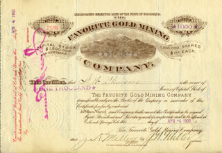 Autographs: J. W. MILLER - STOCK CERTIFICATE SIGNED 04/04/1900 CO-SIGNED BY: J. K. MILLER