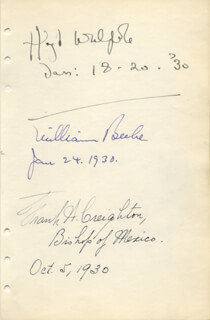 SIR HUGH WALPOLE - AUTOGRAPH 01/18/1930 CO-SIGNED BY: BISHOP FRANK H. CREIGHTON, WILLIAM (CHARLES WILLIAM) BEEBE