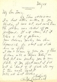 CARLYLE BLACKWELL - AUTOGRAPH LETTER SIGNED 5/24