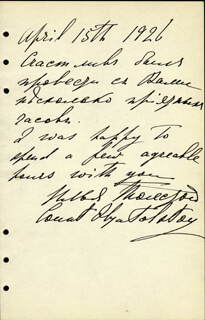 COUNT ILYA LVOVICH TOLSTOY - AUTOGRAPH NOTE SIGNED 04/15/1926