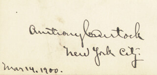 ANTHONY COMSTOCK - AUTOGRAPH 03/14/1900