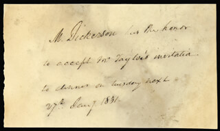 MAHLON DICKERSON - THIRD PERSON AUTOGRAPH NOTE 01/27/1831