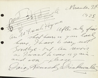 DAISY KENNEDY - AUTOGRAPH MUSICAL QUOTATION SIGNED 11/30/1925