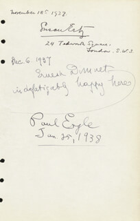 PAUL ENGLE - AUTOGRAPH 01/25/1938 CO-SIGNED BY: ERNEST DIMNET, SUSAN ERTZ