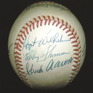 HANK AARON - AUTOGRAPHED SIGNED BASEBALL CO-SIGNED BY: JOE TORRE, VANCE LAW, JOHNNY MIZE, HOYT (JAMES) WILHELM, LOU BROCK, RALPH TERRY, BOBBY THOMSON, BILL MAZ MAZEROSKI, DUKE SNIDER