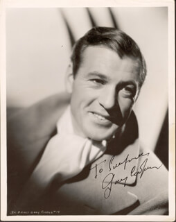 GARY COOPER - AUTOGRAPHED INSCRIBED PHOTOGRAPH  - HFSID 88329