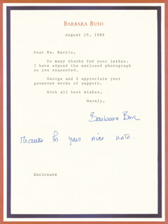 FIRST LADY BARBARA BUSH - TYPED LETTER SIGNED 08/29/1988