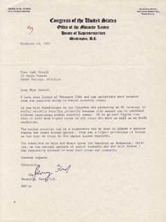 PRESIDENT GERALD R. FORD - TYPED LETTER SIGNED 02/28/1967