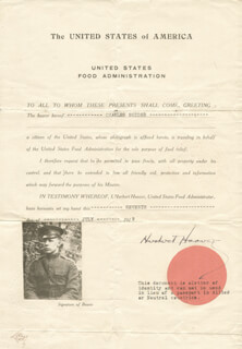 PRESIDENT HERBERT HOOVER - DOCUMENT SIGNED 07/07/1919