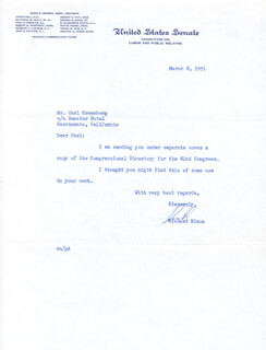 PRESIDENT RICHARD M. NIXON - TYPED LETTER SIGNED 03/08/1951