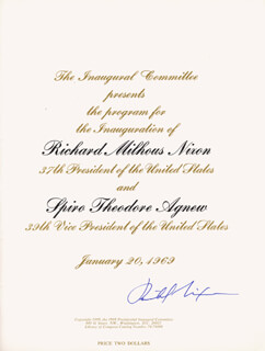 Autographs: PRESIDENT RICHARD M. NIXON - INAUGURAL PROGRAM SIGNED