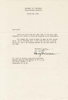 PRESIDENT HARRY S TRUMAN - TYPED LETTER SIGNED 03/21/1957