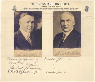 PRESIDENT WARREN G. HARDING - AUTOGRAPH CIRCA 1921 CO-SIGNED BY: GEORGE B. CHRISTIAN JR., PRESIDENT HERBERT HOOVER, FIRST LADY LOU HENRY HOOVER