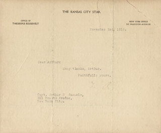 PRESIDENT THEODORE ROOSEVELT - TYPED LETTER SIGNED 11/03/1918