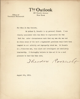 Autographs: PRESIDENT THEODORE ROOSEVELT - TYPED LETTER SIGNED 08/09/1912