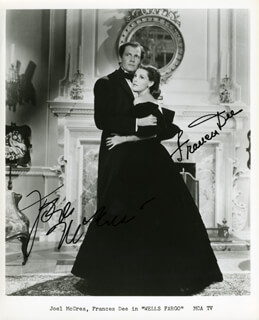 WELLS FARGO MOVIE CAST - AUTOGRAPHED SIGNED PHOTOGRAPH CO-SIGNED BY: JOEL McCREA, FRANCES DEE