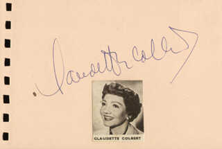 CLAUDETTE COLBERT - AUTOGRAPH CO-SIGNED BY: SOPHIE TUCKER