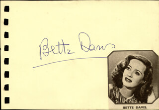 BETTE DAVIS - AUTOGRAPH CO-SIGNED BY: ROBERT STACK