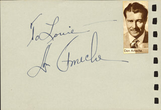 DON AMECHE - INSCRIBED ALBUM LEAF SIGNED CO-SIGNED BY: NANCI CROMPTON