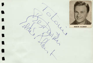 Autographs: EDDIE ALBERT - AUTOGRAPH NOTE SIGNED CO-SIGNED BY: PATTI PAGE
