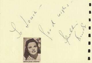GERALDINE BROOKS - AUTOGRAPH NOTE SIGNED CO-SIGNED BY: ELSY ALBIIN