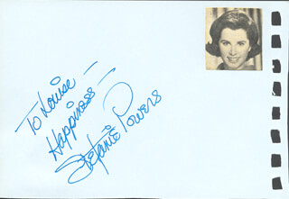 STEFANIE POWERS - AUTOGRAPH NOTE SIGNED CO-SIGNED BY: URSULA ANDRESS