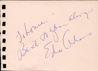 EDIE ADAMS - AUTOGRAPH NOTE SIGNED CO-SIGNED BY: DOLORES (REV. MOTHER DOLORES HART) HART