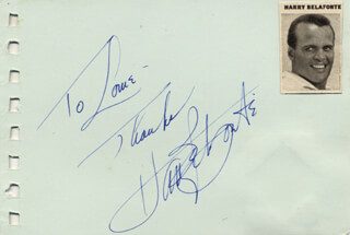 HARRY BELAFONTE - AUTOGRAPH NOTE SIGNED CO-SIGNED BY: HOPE LANGE