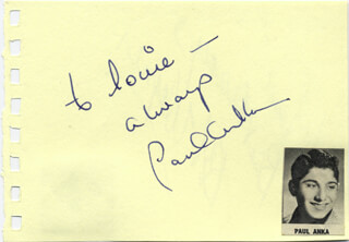 PAUL ANKA - AUTOGRAPH NOTE SIGNED CO-SIGNED BY: ROBERT J. WAGNER