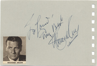 Autographs: RICHARD ARLEN - INSCRIBED SIGNATURE CO-SIGNED BY: BILLY ECKSTINE
