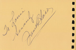 JANET BLAIR - INSCRIBED SIGNATURE CO-SIGNED BY: GEOFFREY HORNE
