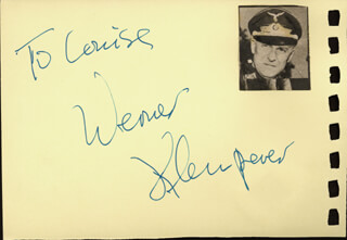 WERNER KLEMPERER - INSCRIBED SIGNATURE CO-SIGNED BY: GILA GOLAN