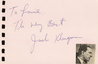 JACK KLUGMAN - AUTOGRAPH NOTE SIGNED CO-SIGNED BY: DELLA REESE